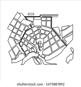 map of the old town of a village with a river vector stock illustration on a white background treasure map flat city fortress, city plan master plan