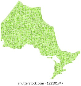 Map of Ontario - Canada - in a mosaic of green squares. A number of 3500 green squares are accurately inserted into the mosaic. White background.