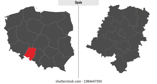 map of Opole voivodship province of Poland and location on Polish map