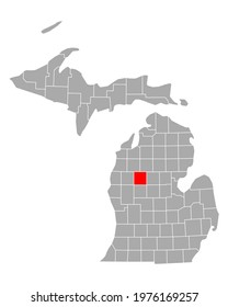 Map of Osceola in Michigan on white