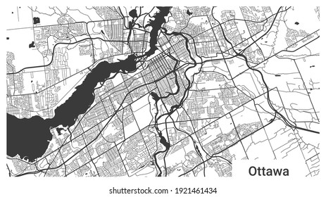 Map of Ottawa city, Ontario, Canada. Horizontal background map poster black and white land, streets and rivers. 1920 1080 proportions. Royalty free grayscale graphic vector illustration.