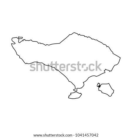 Map Outline Bali Island Stock Vector Royalty Free 1041457042