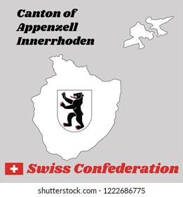 Map outline and Coat of arms of Appenzell innerrhoden, The canton of Switzerland with name text Canton of Appenzell innerrhoden and Swiss Confederation.
