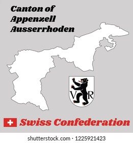 Map outline and Coat of arms of Appenzell Ausserrhoden, The canton of Switzerland with name text Canton of Appenzell Ausserrhoden and Swiss Confederation.