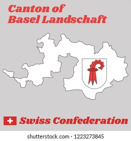 Map outline and Coat of arms of Basel-Landschaft, The canton of Switzerland with name text Canton of Basel Landschaft and Swiss Confederation.