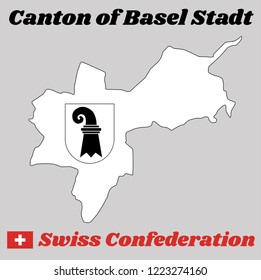 Map outline and Coat of arms of Basel-Stadt, The canton of Switzerland with name text Canton of Basel Stadt and Swiss Confederation.