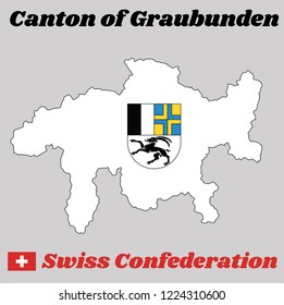 Map outline and Coat of arms of graubunden, The canton of Switzerland with name text Canton of graubunden and Swiss Confederation.