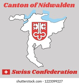 Map outline and Coat of arms of Nidwalden, The canton of Switzerland with name text Canton of Nidwalden and Swiss Confederation.