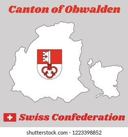 Map outline and Coat of arms of Obwalden, The canton of Switzerland with name text Canton of Obwalden and Swiss Confederation.
