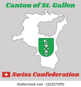 Map outline and Coat of arms of Sankt Gallen, The canton of Switzerland with name text Canton of St. Gallen and Swiss Confederation.