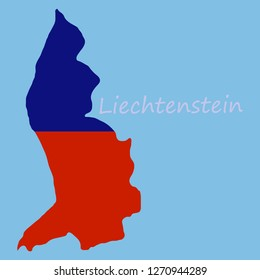 Map outline country shaped and flag of Liechtenstein, It is a horizontal bicolor of blue and red, charged with a gold crown in the canton with name text Principality of Liechtenstein.