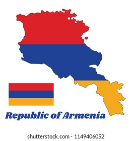 Map outline and flag of Armenia, a horizontal tricolor of red, blue, and orange. with name text Republic of Armenia.