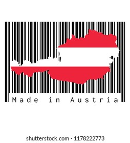 Map outline and flag of Austria on black barcode with white background, text: Made in Austria. concept of sale or business.