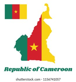 Map outline and flag of Cameroon, A vertical tricolor of green, red and yellow, with a gold star centered on the red band. with name text Republic of Cameroon.
