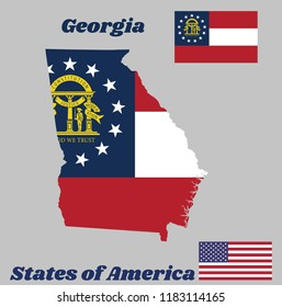 Map Outline And Flag Of Georgia Three Stripes Consisting Red White