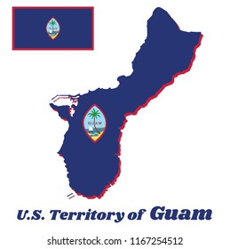 Map outline and flag of Guam, A dark blue background with a thin red border and the Seal of Guam in the center. with name text U.S. Territory of Guam.