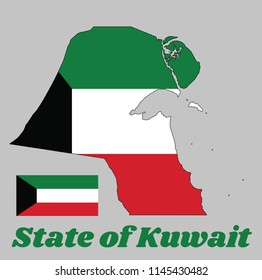 Map outline and flag of Kuwait, a horizontal triband of green, white and red; with a black trapezium based on the hoist side. Name text State of Kuwait.