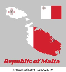 Map outline and flag of Malta, a vertical bicolor of white and red with the representation of the George Cross edged. with name text Republic of Malta.
