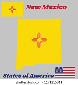 Map outline and flag of New Mexico, The red and yellow of old Spain. The ancient Zia Sun symbol in red, in the center of a field of yellow. With American flag.