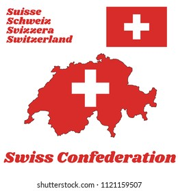 Map outline and flag of Switzerland, It is consists of a red flag with a white cross in the centre with name text of Swiss Confederation, Schweiz, Suisse and Svizzera.
