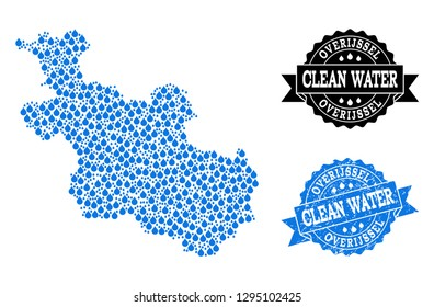 Map of Overijssel Province vector mosaic and clean water grunge stamp. Map of Overijssel Province created with blue water raindrops. Seal with corroded rubber texture for clean drinking water.