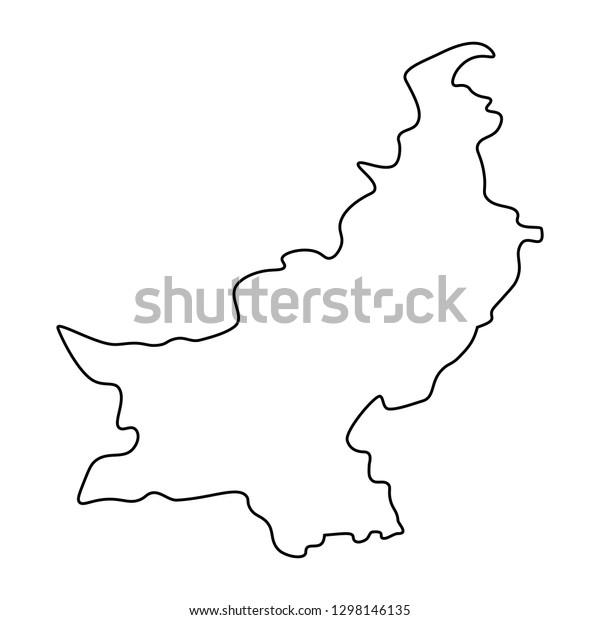 Map Pakistan Outline Silhouette Pakistan Map Stock Vector