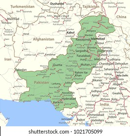 Map of Pakistan. Shows country borders, urban areas, place names and roads. Labels in English where possible.Projection: Mercator.