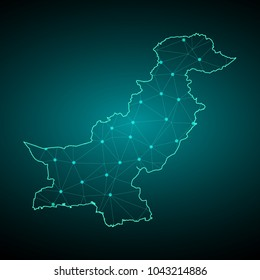 Map of Pakistan. Wire frame 3D mesh polygonal network line, design sphere, dot and structure. communications map of Pakistan. Vector Illustration EPS10.
