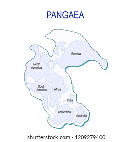 Map of Pangaea with modern continental borders. Continental drift on the planet Earth. millions years ago. vector illustration for educational and science use