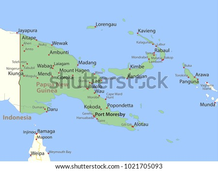 Map Papua New Guinea Shows Country Stock Vector Royalty Free