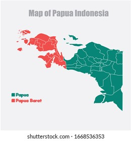 Map Of Papua Province & West Papua Province, Indonesia.