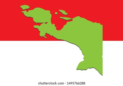 Map of Papua, West Papua with Red and White background, vector illustration