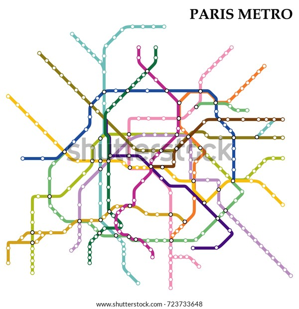 Kartta Pariisin Metro Subway Malli Kaupungin Arkistovektori