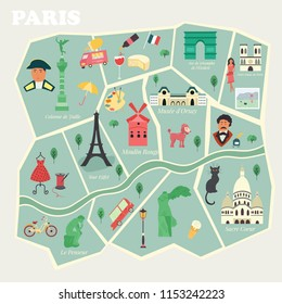 Map of Paris with streets and famous places