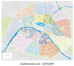 map of Paris/France - all arrondissements labeled and in different colors