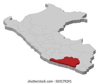 Map - Peru, Arequipa - 3D-Illustration