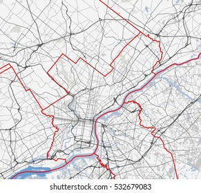Map Philadelphia city. Pennsylvania Roads