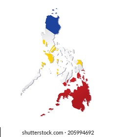 map of philippines with the image of the national flag