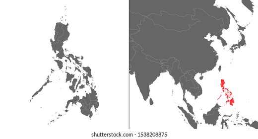 Map of Philippines with location on asian map