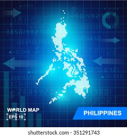 Map Of Philippines,Abstract background, vector illustration
