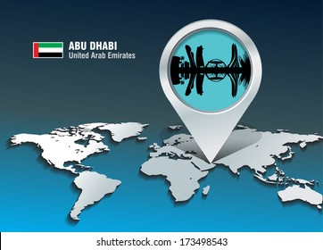 Map pin with Abu Dhabi skyline - vector illustration