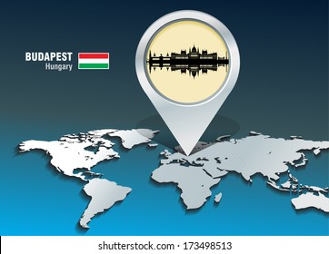 Map pin with Budapest skyline - vector illustration
