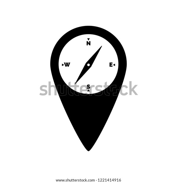 Map Pin Compass Icon Logo On Stock Vector (Royalty Free) 1221414916