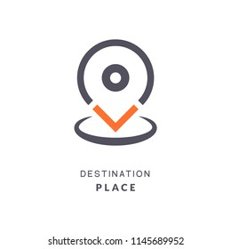 Map pin destination icon. GPS place sign flat vector marker. GPS destination pin sign.