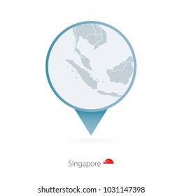 Map pin with detailed map of Singapore and neighboring countries.