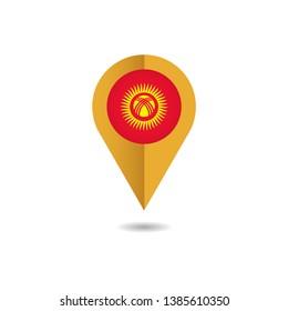 Map pin Flag of Kyrgyzstan, Kyrgyzstan flag template design. Vector Eps 10