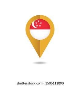 Map pin Flag of Singapore, Singapore flag template design. Vector Eps 10