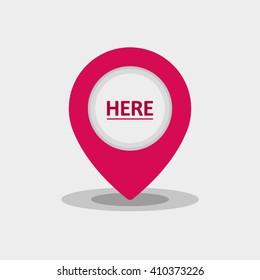 Map Pin Flat Design Modern Pink Icon