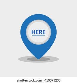 Map Pin Flat Design Modern Blue Icon