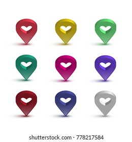 Map pin with heart set. Vector shiny signs with hearts for map isolated on white background.